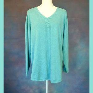 Karen Scott Green V Neck Sweater Size 1X